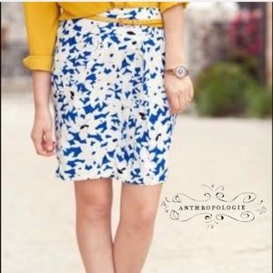 Odille by Anthropologie Silk Floral Print Skirt